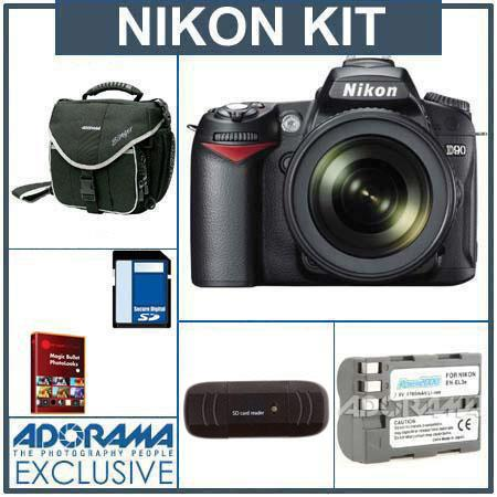 Nikon D90 DSLR Camera/ Lens Kit, with AF-S DX NIKKOR 18-105mm f/3.5-5.6G ED VR Lens, 4GB SD Memory Card,Spare EN-EL3e Lithium-Ion Battery, Slinger Camera Bag, U