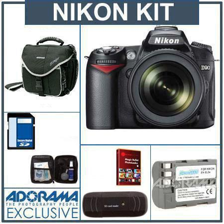 Nikon D90 DSLR Camera/ Lens Kit, with AF-S DX NIKKOR 18-105mm f/3.5-5.6G ED VR Lens, 8GB SD Memory Card,Spare EN-EL3e Lithium-Ion Battery, Slinger Camera Bag, U