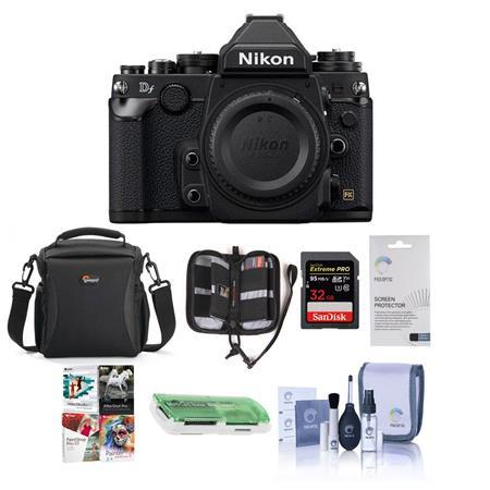 Nikon Df FX-Format Digital SLR Camera Body, 16.2MP, Black - Bundle With Lowepro Rezo TLZ-20 Holster Case, 32GB Ultra SDHC Card, Cleaning Kit,