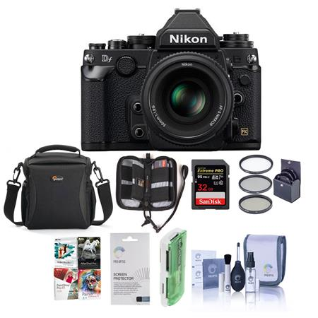 Nikon Df FX-format Digital SLR Camera Kit with AF-S NIKKOR 50mm f/1.8G Special Edition Lens, Black - Bundle With LowePro Rezo TLZ-20 Holster Case, 32GB Ultra SDHC Card, Cleaning Kit, Screen Protector, 58 Pro 58MM MC UV Filter
