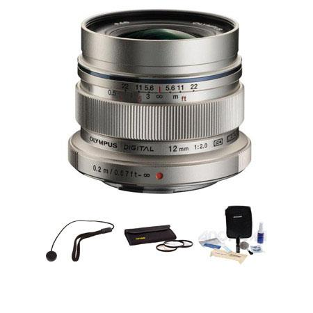 Olympus M.Zuiko Digital ED 12mm F/2 - for Micro Four Thirds System - Lens Bundle - with Tiffen 46mm Photo Essentials Filter Kit, Lens Cap Leash, Professional Lens Cleaning Kit