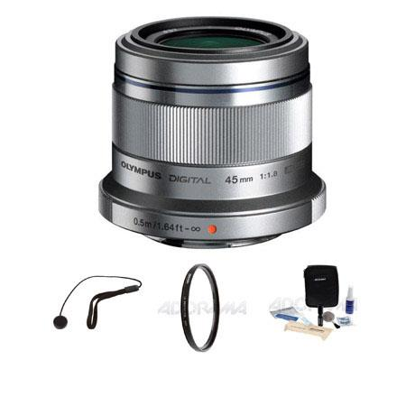 Olympus M.Zuiko Digital ED 45mm f/1.8 - for Micro Four Thirds System - Lens Bundle - with Tiffen 37mm UV Filter, Lens Cap Leash, Professional Lens Cleaning Kit