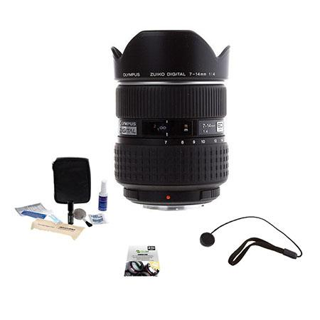 Olympus Zuiko 7-14mm F/4 E-ED Digital Zoom Lens for E Series DSLRs - (Four Thirds System) - Bundle With New Leaf 3 Year (Drops & Spills) Warranty, Cleaning Kit, Lens Cap Leash