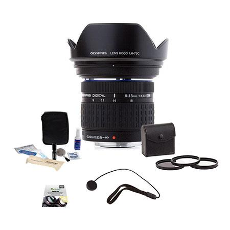 Olympus Zuiko 9-18mm f/4.0-5.6 E-ED Digital Zoom Lens for E Series DSLRs - (Four Thirds System) - Bundle With 72MM Filter Kit (UV/CPL/ND2) , New Leaf 5 Years (Drops & Spills) Warranty, Cleaning Kit, Lens Cap Leash