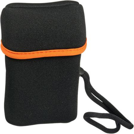 Olympus Neoprene Camera Case with Wrist Strap, Black/Orange Trim