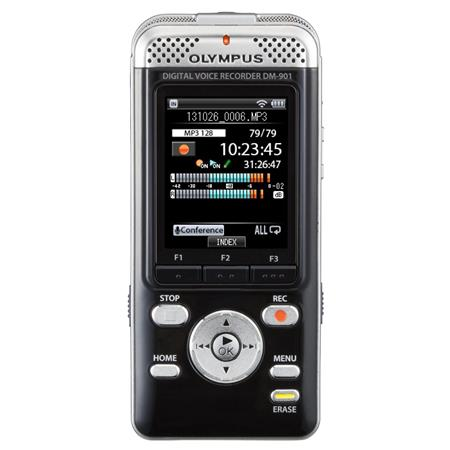 "Olympus DM-901 Digital Voice Recorder, 4GB Memory, SD/SDHC/SDXC Card up to 64GB, Wi-Fi, Color 2"" LCD, PCM (WAV)/MP3/WMA Formats"