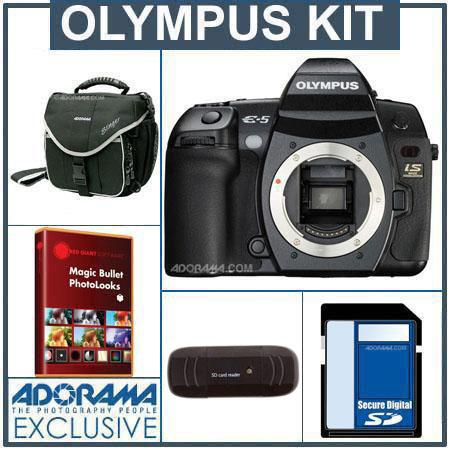 Olympus E-5 12.3 Megapixel Digital SLR Camera Body Kit, with 8GB SD Memory Card, Camera System Bag, USB 2.0 SD Card Reader - FREE: Red Giant Magic Bullet PhotoL