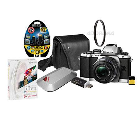 Olympus E-M10 Digital Camera Silver, with M.Zuiko Digital 14-42mm f3.5-5.6 IIR Lens, Bundle With 16GB Class 10 SDHC Card, Mini-Messenger Bag with Shoulder Strap, SD Card Reader, HDMI Micro cable 6', Tiffen DFX Essentials Digital Filter Software, SanDisk 1