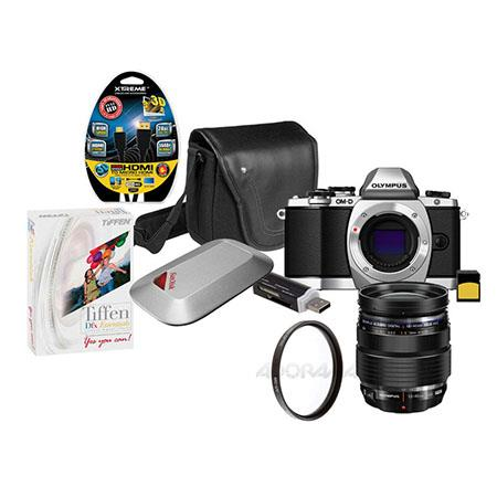 Olympus E-M10 Digital Camera with M.Zuiko Digital 12-40mm f2.8 ED Lens, Silver - Bundle With 16GB Class 10 SDHC Card, Mini-Messenger Bag with Shoulder Strap, SD Card Reader, HDMI Micro cable 6', Tiffen DFX Essentials Digital Filter Software, SanDisk 16GB