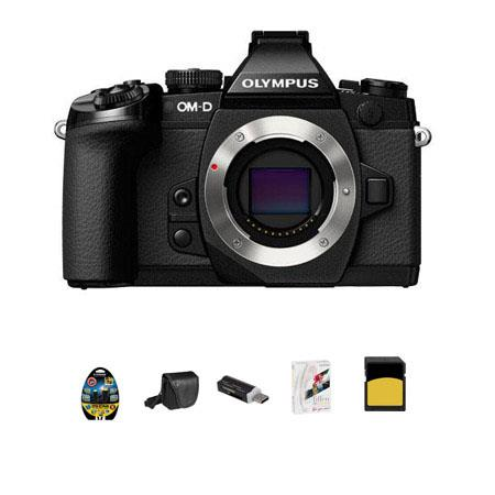 Olympus OMD E-M1 Mirrorless Micro Four Thirds Camera Body Only - Bundle - with 16GB Class 10 UHS-1 SDHC Card, Mini-Messenger Bag, USB 2.0 Multi-Card Reader, 6' Micro HDMI to HDMI Cable, and Tiffen Dfx Essentials Software
