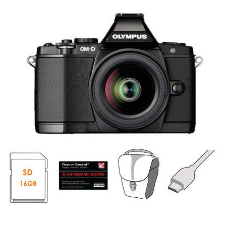 Olympus OM-D E-M5 Mirrorless Digital Camera, Black with M.Zuiko Digital 14-42mm II R Lens - Bundle - with 16GB SDHC Card, Carry Case, 6' HDMI Cable, Class On Demand Black Card