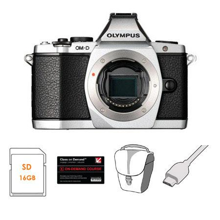 Olympus OM-D E-M5 Mirrorless Digital Camera, Silver - Bundle - with 16GB SDHC Memory Card, Carry Bag, 6' HDMI Cable, Class On Demand Black Card
