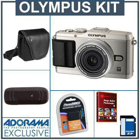 Olympus E-P3 Pen Digital Camera, Silver with M.Zuiko 17mm f/2.8 Silver Lens - Bundle - with 8GB SD Memory Card, Spare BLS-1 Lithium-Ion Rechargeable Battery, Ca