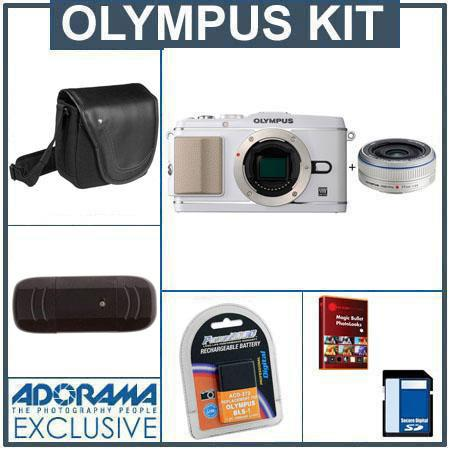 Olympus E-P3 Pen Digital Camera, White with M.Zuiko 17mm f/2.8 Silver Lens - Bundle - with 8GB SD Memory Card, Spare BLS-1 Lithium-Ion Rechargeable Battery, Cam