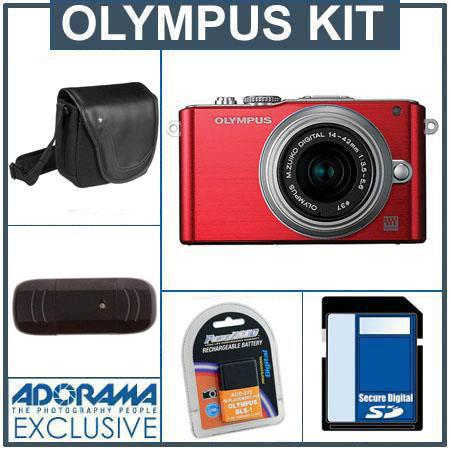 Olympus E-PL3 Digital Camera - Red - with 14-42mm Zoom Lens, Silver - Bundle - with 8GB SD Memory Card, Spare BLS-1 Lithium-Ion Rechargeable Battery, Camera Cas