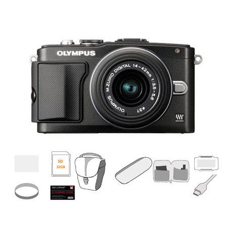 Olympus E-PL5 Mirrorless Digital Camera with 14-42mm f/3.5 II Lens, Black - Bundle - with 32GB SDHC Memory Card, Carry Case, Cleaning Kit, 6' HDMI Cable, LCD Screen Protector, USB 2.0 Media Card Reader, 37mm UV Filter, Memory Card Holder, Class On Demand