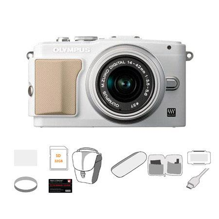 Olympus E-PL5 Mirrorless Digital Camera with 14-42mm f/3.5 II Lens, White - Bundle - with 32GB SDHC Memory Card, Carry Case, Cleaning Kit, 6' HDMI Cable, LCD Screen Protector, USB 2.0 Media Card Reader, 37mm UV Filter, Memory Card Holder, Class On Demand