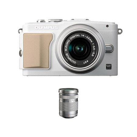 Olympus E-PL5 Mirrorless Digital Camera, White, with 14-42mm f/3.5 II Lens, Silver - Bundle - with M. Zuiko Digital ED 40-150mm f/4-5.6