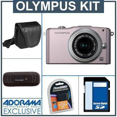 Olympus E-PM1 Digital Camera Kit - Pink - M.Zuiko MSC ED m14-42mm F3.5/5.6 II R Silver Lens, 8GB SD Memory Card, Spare BLs-1 Lithium-I n Rechargeable Battery, C