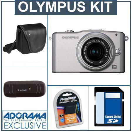 Olympus E-PM1 Digital Camera Kit - Silver - M.Zuiko MSC ED m14-42mm F3.5/5.6 II R Silver Lens, 8GB SD Memory Card, Spare BLs-1 Lithium-I n Rechargeable Battery,