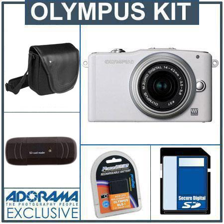 Olympus E-PM1 Digital Camera Kit - White - M.Zuiko MSC ED m14-42mm F3.5/5.6 II R Silver Lens, 8GB SD Memory Card, Spare BLs-1 Lithium-I n Rechargeable Battery,