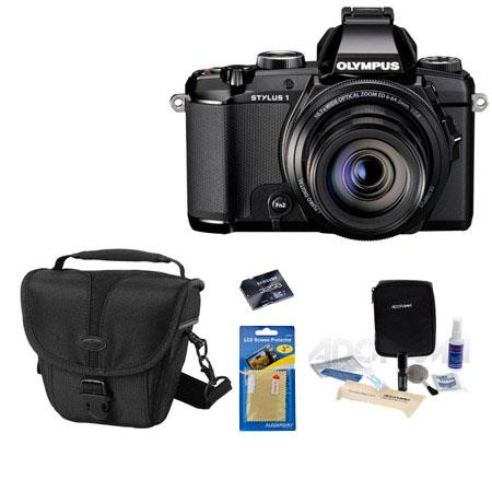 Olympus Stylus 1 Digital Camera, 12MP, Bundle With Camera Case, 32GB Class 10 SDHC Card, Cleaning Kit, Screen Protector