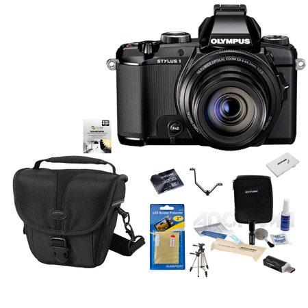 Olympus Stylus 1 Digital Camera, 12MP, Bundle With Camera Case, 32GB Class 10 SDHC Card, New Leaf 3 Year (Drops & Spills) Warranty, Cleaning Kit, Screen Protector, Sunpack Tripod, SD Card Reader, Case Case