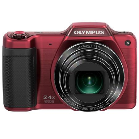 "Olympus SZ-15 Digital Camera, 16 Megapixel - CCD 1/2.3, 24x Optical + 2x Super Resolution + 4x Digital Zoom, 3"" LCD, HD Video, Red"