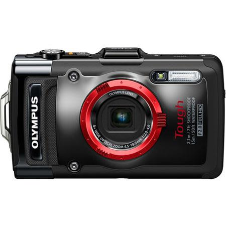 "Olympus TG-2 iHS Digital Camera, 12 MP, BSI CMOS Sensor, 3"" 610K OLED, 4x Optical Zoom + 4x Digital Zoom, 1080p Full HD Video, Black"