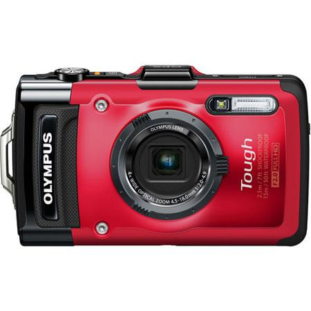 "Olympus TG-2 iHS Digital Camera, 12 MP, BSI CMOS Sensor, 3"" 610K OLED, 4x Optical Zoom + 4x Digital Zoom, 1080p Full HD Video, Red"