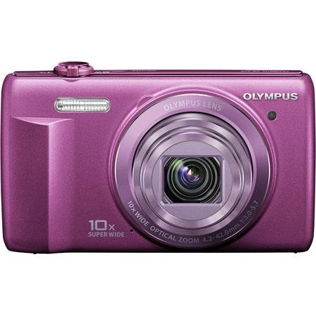 "Olympus VR-340 16MP Digital Camera, 10x Optical/4x Digital Zoom, 3.0"" LCD Monitor, 720p HD Video, Purple"