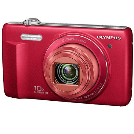 "Olympus VR-340 16MP Digital Camera, 10x Optical/4x Digital Zoom, 3.0"" LCD Monitor, 720p HD Video, Red"