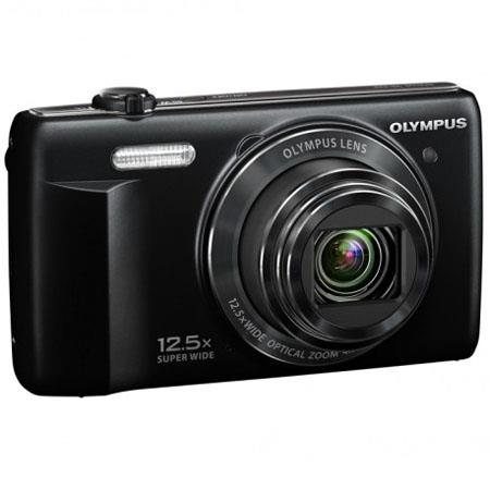 "Olympus VR-370 Digital Camera, 16MP 1/2.3"" CCD Sensor, 12.5x Optical Zoom, 4x Digital Zoom, 24mm Wide-Angle Lens, 3.0"" LCD Display, Black"
