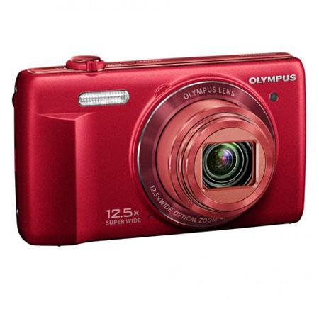 "Olympus VR-370 Digital Camera, 16MP 1/2.3"" CCD Sensor, 12.5x Optical Zoom, 4x Digital Zoom, 24mm Wide-Angle Lens, 3.0"" LCD Display, Red"
