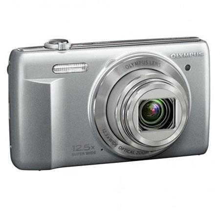 "Olympus VR-370 Digital Camera, 16MP 1/2.3"" CCD Sensor, 12.5x Optical Zoom, 4x Digital Zoom, 24mm Wide-Angle Lens, 3.0"" LCD Display, Silver"