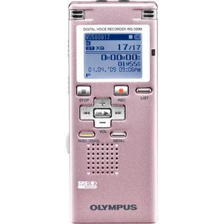 Olympus WS-500M Digital Voice Recorder with 2 GB Built-in Flash Memory, Record Up to 545 Hours in LP Mode, Pink image