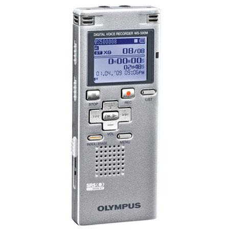 Olympus WS-500M Digital Voice Recorder with 2 GB Built-in Flash Memory, Record Up to 545 Hours in LP Mode, Silver image