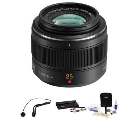 Panasonic 25mm f/1.4 Leica DG Summilux Aspherical Lens for Micro 4/3 System - Bundle - with Tiffen 46mm Photo Essentials Filter Kit, Lens Cap Leash, Professional Lens Cleaning Kit