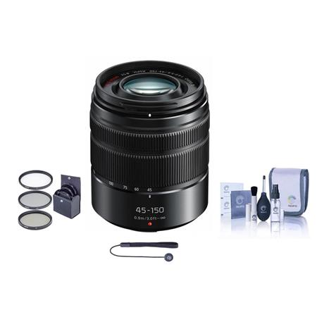 Panasonic Lumix G Vario 45-150mm f/4.0-5.6 ASPH Lens for G Series Cameras, Matte Black - Bundle With Filter Kit, Capleash II,...