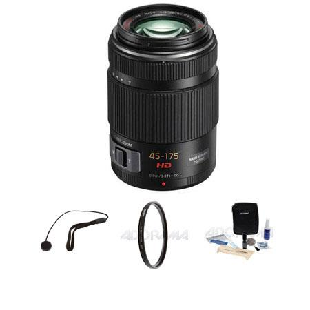Panasonic 45-175mm F/4.0-5.6 Lumix GX Vario Power OIS Zoom Lens - Black, for Micro Four Thirds Lens Mount Systems - Bundle - with Tiffen 46mm UV Filter, Lens Cap Leash, Professional Lens Cleaning Kit