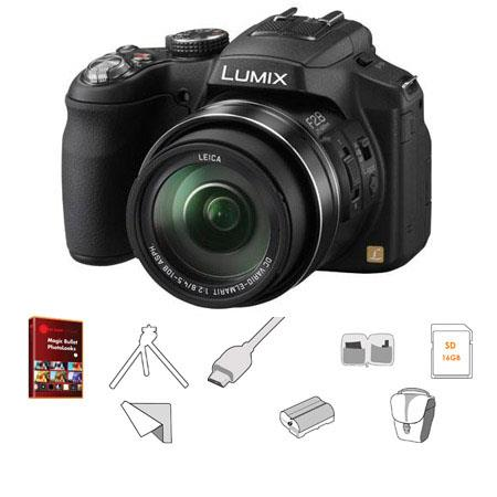 Panasonic Lumix DMC-FZ200 12.1MP Digital Camera, 25-600mm f/2.8 Leica Optical Zoom Lens - Bundle - with 16GB SDHC Memory Card, Lowepro Rezo TLZ-10 Bag, Spare Battery, X6' HDMI Cable, Lens Cleaning Kit, Tabletop Tripod, LCD Screen Protector, Red Giant Magi