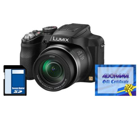 Panasonic Lumix DMC-FZ60 16 Megapixel Digital Camera, with Leica DC Vario-Elmarit 24x Zoom Lens - Bundle - with Adorama $50.00 Gift Certificate and Panasonic Cl