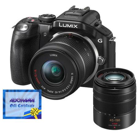 Panasonic Lumix DMC-G5 Camera with Lumix G 14-42mm/F3.5-5.6 Lens and 45-150mm f/4.0-5.6 ASPH Lens - Black, and Adorama $100.00 Gift Certificate