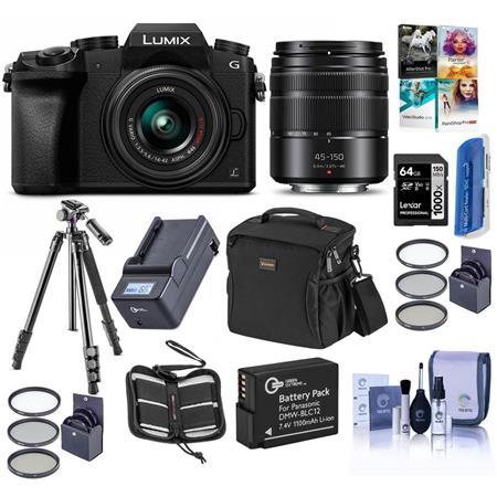 Panasonic Lumix DMC-G7 Mirrorless Camera with Lumix G Vario 14-42mm and 45-150mm Lenses Lens, Black - Bundle with Camera...