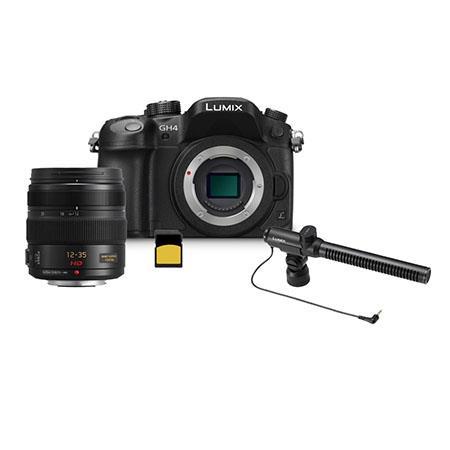 Panasonic Lumix DMC-GH4 Mirrorless Digital Camera Body, Black - Bundle With 12-35/2.8mm ASP F/Micro 4/3 System Lens, DMW-MS2 Stereo Shotgun Microphone, Gold Series 32GB Class 10 SDHC Memory Card