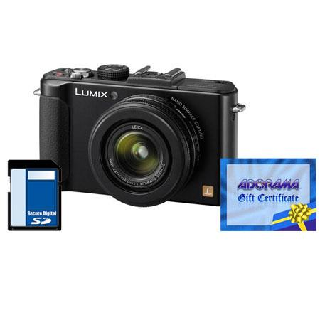 Panasonic Lumix DMC-LX7 10.1 Megapixels Digital Camera with 3.8x24mm Wide-Angle Leica Optical Zoom Lens, Black - Bundle - with Adorama $50.00 Gift Certificate a