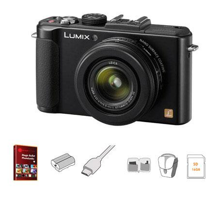 Panasonic Lumix DMC-LX7 Digital Camera with 3.8x24mm Wide-Angle Leica Optical Zoom Lens, Black - Bundle - with 16GB CLass 10 SDHC Memory Card, Lowepro Rezo TLZ-