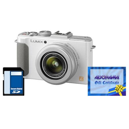 Panasonic Lumix DMC-LX7 10.1 Megapixels Digital Camera with 3.8x24mm Wide-Angle Leica Optical Zoom Lens, White - Bundle - with Adorama $50.00 Gift Certificate a