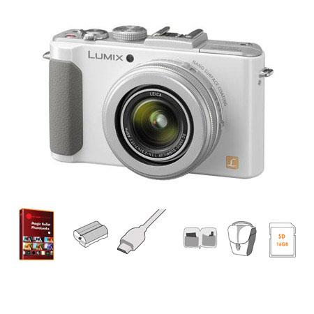 Panasonic Lumix DMC-LX7 Digital Camera with 3.8x24mm Wide-Angle Leica Optical Zoom Lens, White - Bundle - with 16GB Class 10 SDHC Memory Card, Lowepro Rezo TLZ-