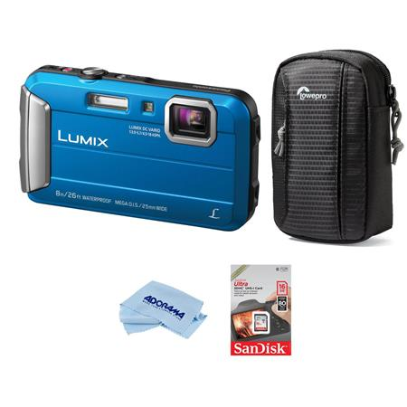 Panasonic Lumix DMC-TS30 Digital Camera, 16.1MP Blue - Bundl
